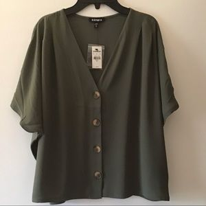 Express Olive Green Dolman Sleeve Box Blouse